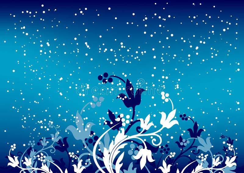 Abstracte de winterachtergrond met vlokken en bloemen in blauwe kleur stock illustratie