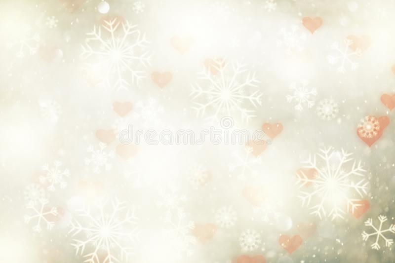 Abstracte de wintersneeuwvlokken met hartenachtergrond royalty-vrije stock foto's