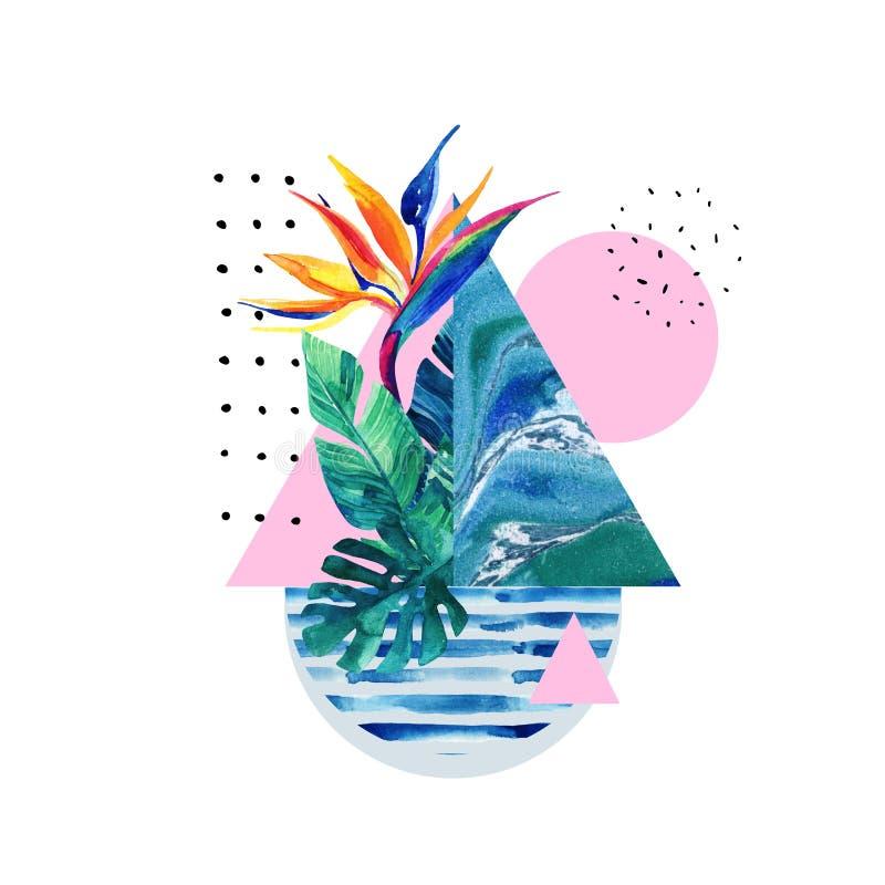 Abstracte de zomer geometrische elementen met exotische die bloem en bladeren op witte achtergrond worden geïsoleerd royalty-vrije illustratie