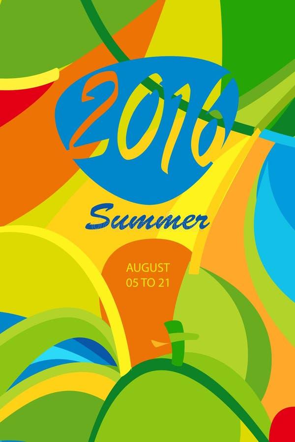 Abstracte de zomeraffiche vector illustratie