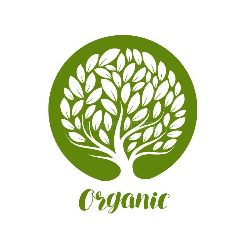 Abstracte decoratieve boom met bladeren Ecologie, natuurlijke, organische etiket of embleem Vector illustratie royalty-vrije illustratie