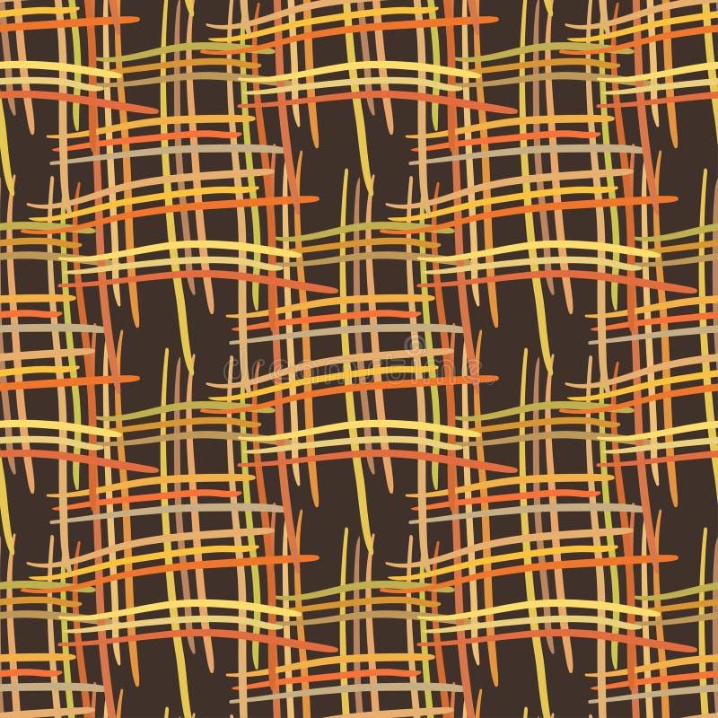 Abstracte decoratieve houten gestreepte geweven mandewerkachtergrond Naadloos patroon Vector vector illustratie