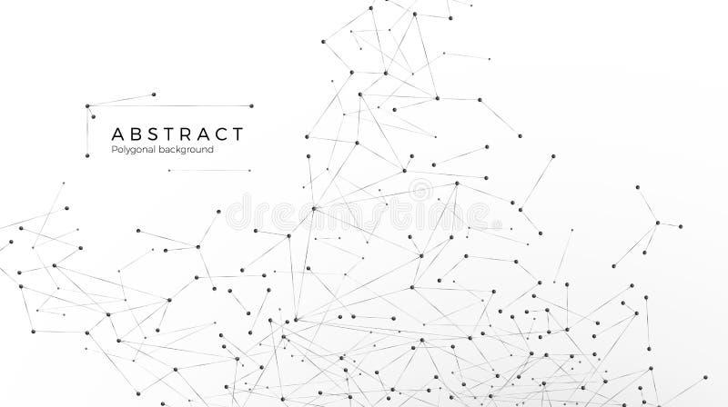 Abstracte deeltjesachtergrond Knoei netwerk Atoom en moleculair patroon Knopen in Web worden verbonden dat Vector ge?soleerde ill vector illustratie