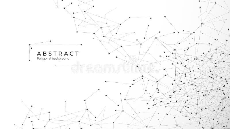 Abstracte deeltjesachtergrond Knoei netwerk Knopen in Web worden verbonden dat De futuristische grote gegevens van de vlechtserie vector illustratie