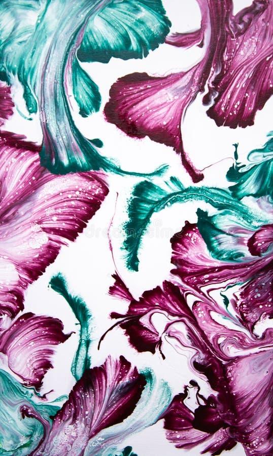 Abstracte die bloemen door draad worden getrokken Vloeibaar art. stock foto