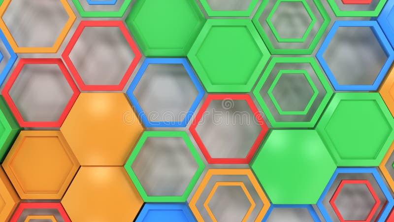 Abstracte die 3d achtergrond van blauw, rood, groen en sinaasappel wordt gemaakt hexag vector illustratie