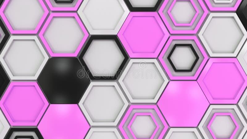 Abstracte die 3d achtergrond van zwarte, witte en purpere zeshoeken wordt gemaakt stock foto