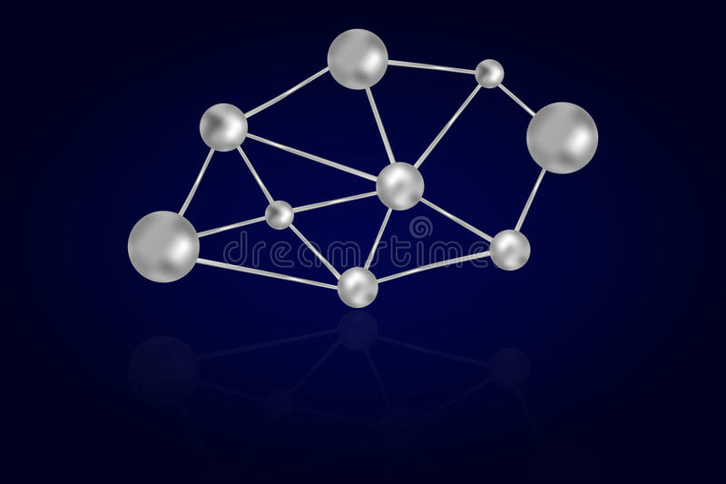 Abstracte die 3D staal of ijzercirkels aan metaallijnen worden verbonden royalty-vrije illustratie