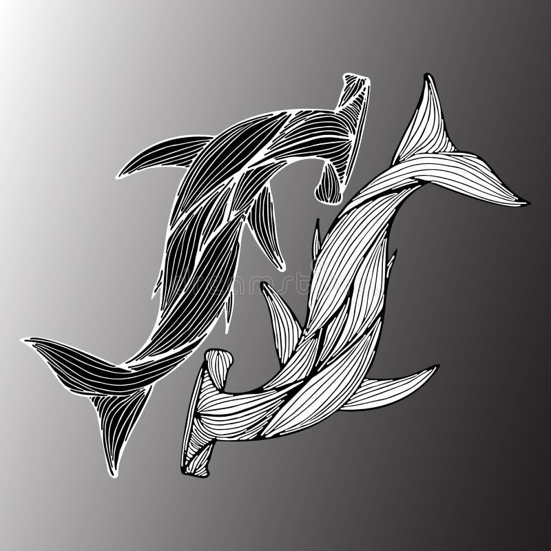 Abstracte die hand van twee reuze geïsoleerde hamerhaaien op grijze achtergrond wordt getrokken Vector illustratie overzicht Lijn stock illustratie