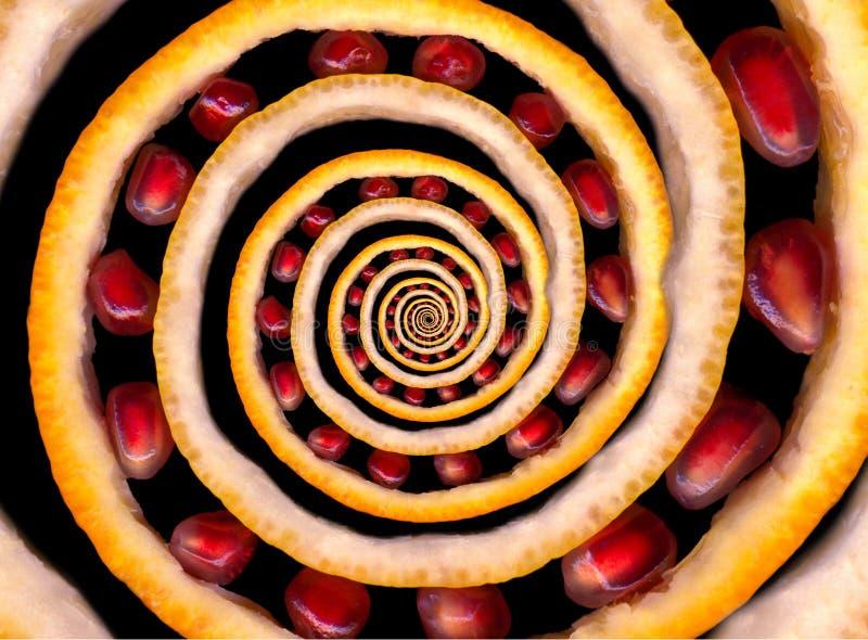 Abstracte die textuurfractal spiraal van vruchten wordt gemaakt: sinaasappel en citroensukade, granaatappelzaden Fruitrotatie Abs royalty-vrije stock afbeeldingen