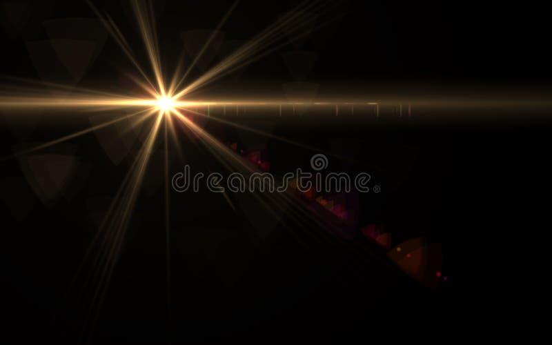 Abstracte die zon met digitale lensgloed is gebarsten royalty-vrije illustratie