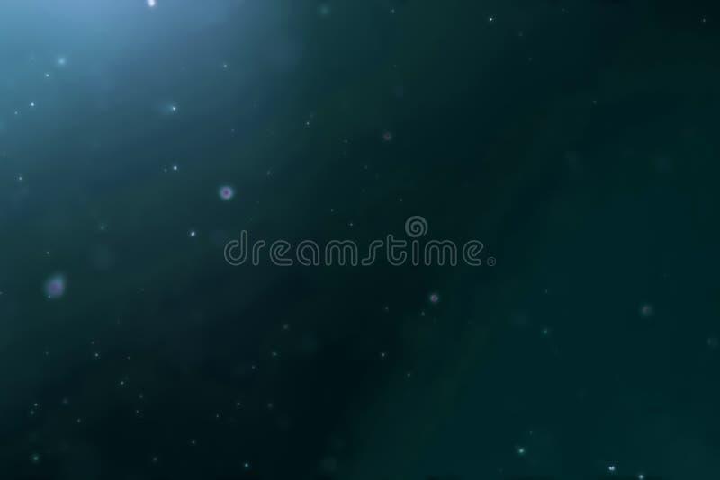 Abstracte diepe blauwe oceaangolven van onderwaterachtergrond met micro- deeltjesstof die, lichte stralen het glanzen stromen royalty-vrije stock fotografie