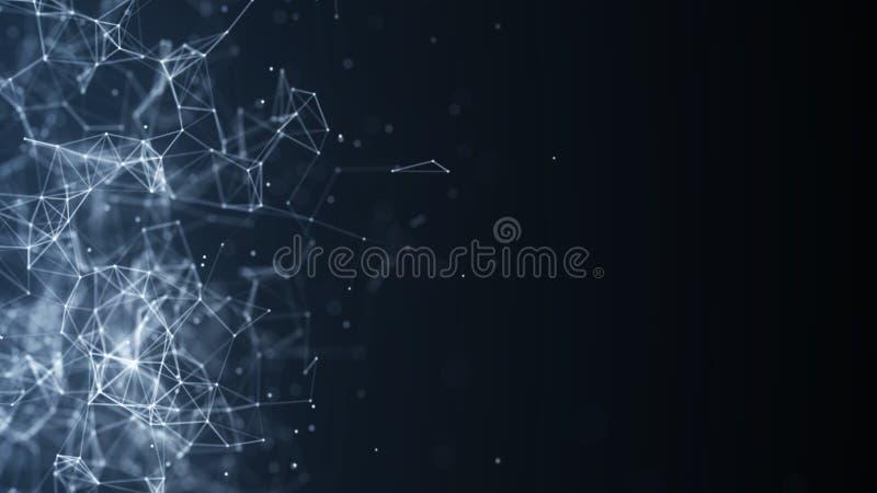 Abstracte digitale achtergrond De aansluting van het netwerk Het concept van het netwerk De achtergrond van de wetenschap het 3d  stock illustratie