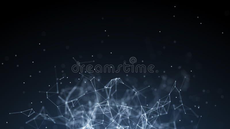 Abstracte digitale achtergrond De aansluting van het netwerk Het concept van het netwerk De achtergrond van de wetenschap het 3d  royalty-vrije illustratie