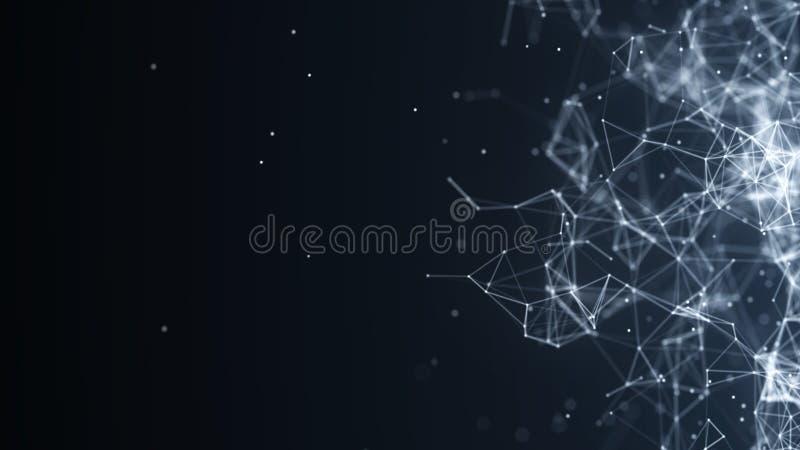 Abstracte digitale achtergrond De aansluting van het netwerk Het concept van het netwerk De achtergrond van de wetenschap het 3d  vector illustratie