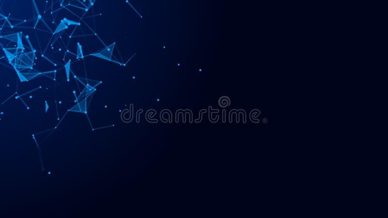 Abstracte digitale blauwe achtergrond Verbindend Dots And Lines De aansluting van het netwerk De achtergrond van de wetenschap he stock illustratie