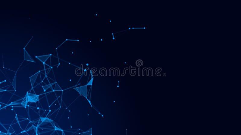 Abstracte digitale blauwe achtergrond Verbindend Dots And Lines De aansluting van het netwerk De achtergrond van de wetenschap he vector illustratie