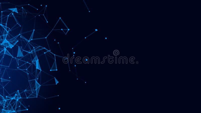 Abstracte digitale blauwe achtergrond Verbindend Dots And Lines De aansluting van het netwerk De achtergrond van de wetenschap he royalty-vrije illustratie