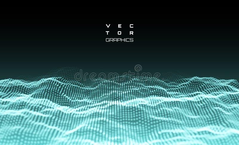 Abstracte digitale 3d het landschapsachtergrond van wireframetechnologie stock illustratie