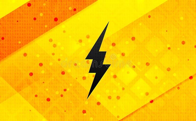 Abstracte digitale de banner gele achtergrond van het bliksempictogram royalty-vrije illustratie
