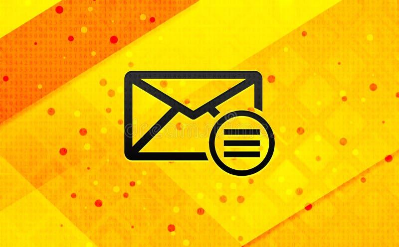 Abstracte digitale de banner gele achtergrond van het e-mailoptiepictogram royalty-vrije illustratie