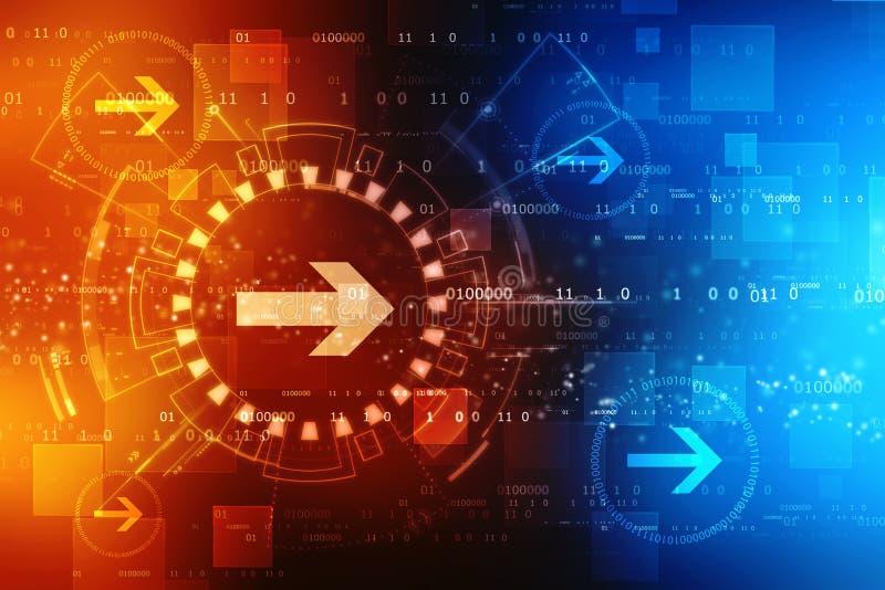 Abstracte digitale de technologieachtergrond van de pijlcirkel, heldere snelheids abstracte achtergrond stock illustratie