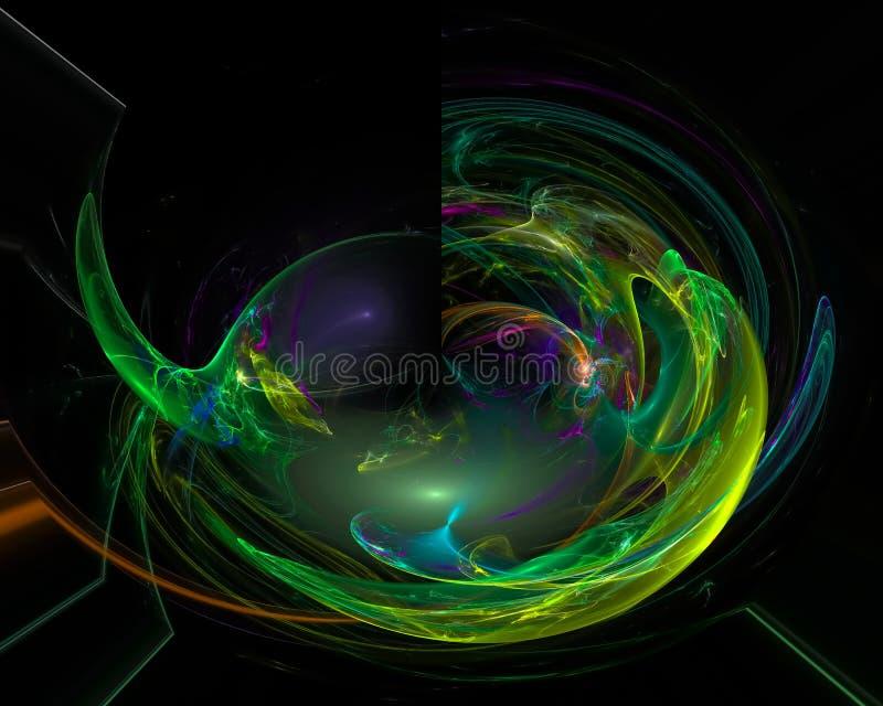 Abstracte digitale energie surreal fractal, effect het ontwerp creatief malplaatje van de chaostextuur vector illustratie
