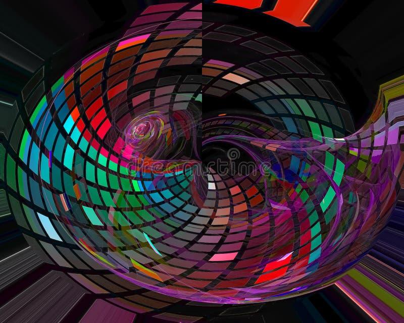 Abstracte digitale fractal, creatieve malplaatje van het computer surreal ontwerp vector illustratie