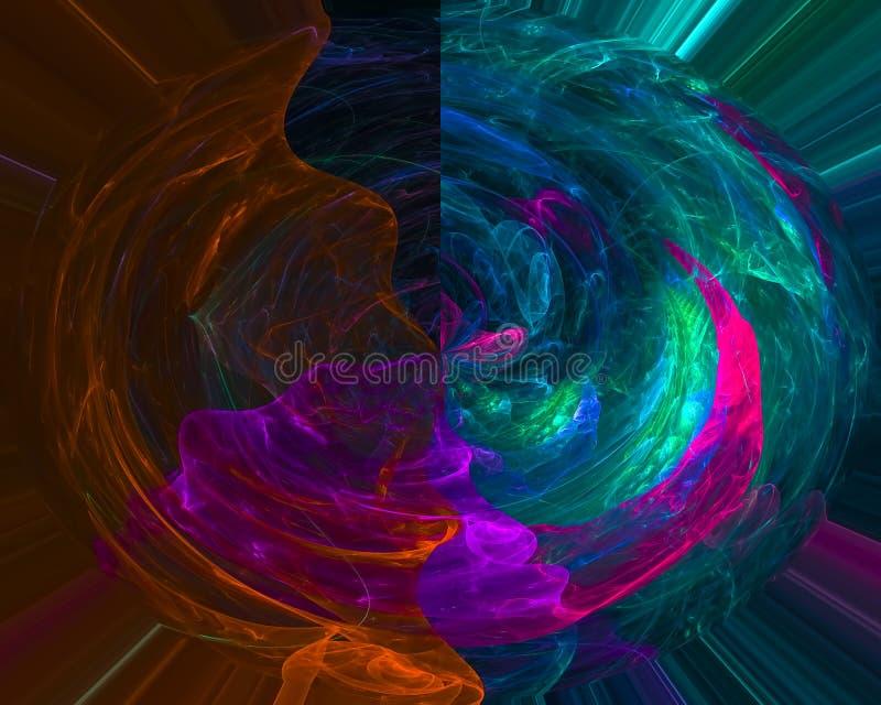 Abstracte digitale fractal, surreal decoratieve droom van de kleurenkaart, creatief, curvmotion e royalty-vrije illustratie