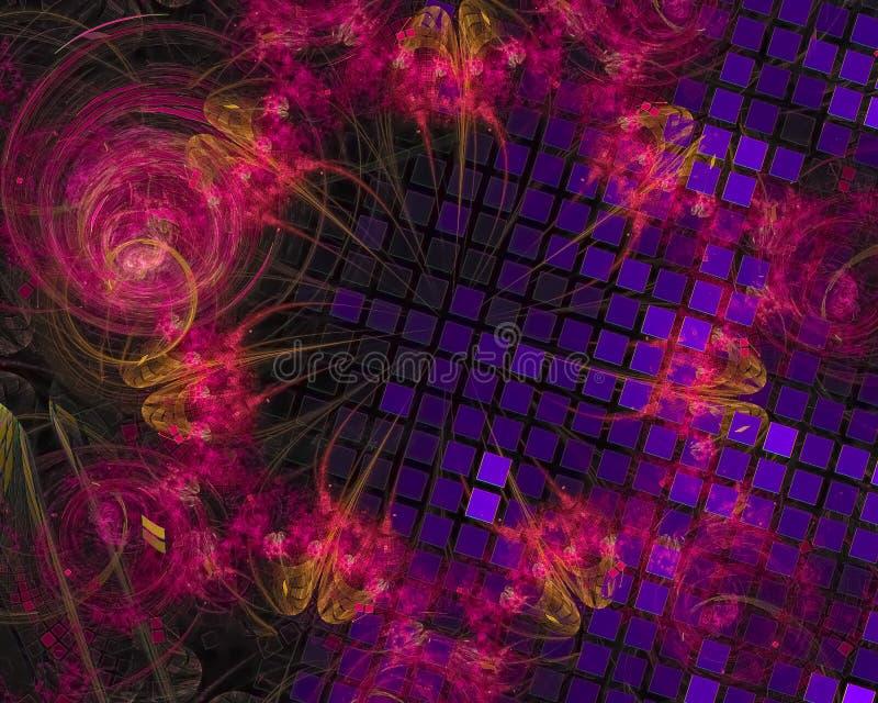 Abstracte digitale fractal, surreal het ontwerp creatief malplaatje van de computer decoratief energie vector illustratie