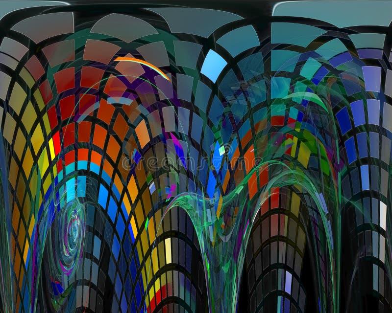 Abstracte digitale fractal, surreal het ontwerp creatief malplaatje van de computerenergie stock illustratie