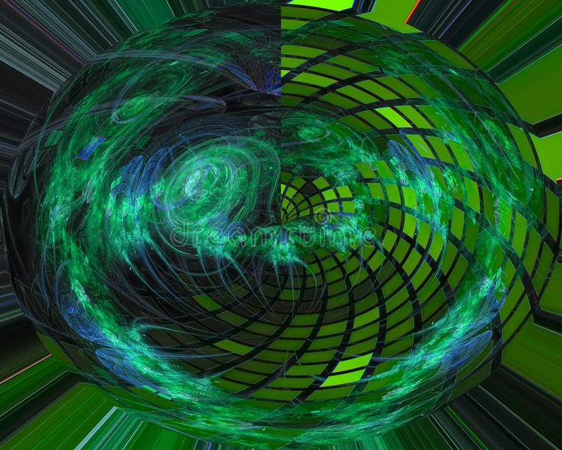 Abstracte digitale fractal, surreal het ontwerp creatief malplaatje van de informatica decoratief energie stock illustratie