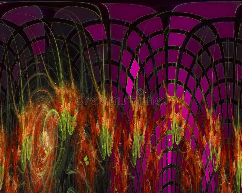 Abstracte digitale fractal, surreal het ontwerp creatief malplaatje van de wetenschaps decoratief energie stock illustratie