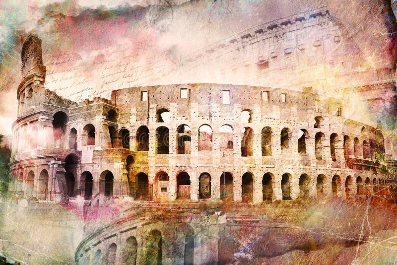 Abstracte digitale kunst van Colosseum, Rome Oud document Prentbriefkaar, hoge voor het drukken geschikte resolutie, over canvas royalty-vrije stock foto's