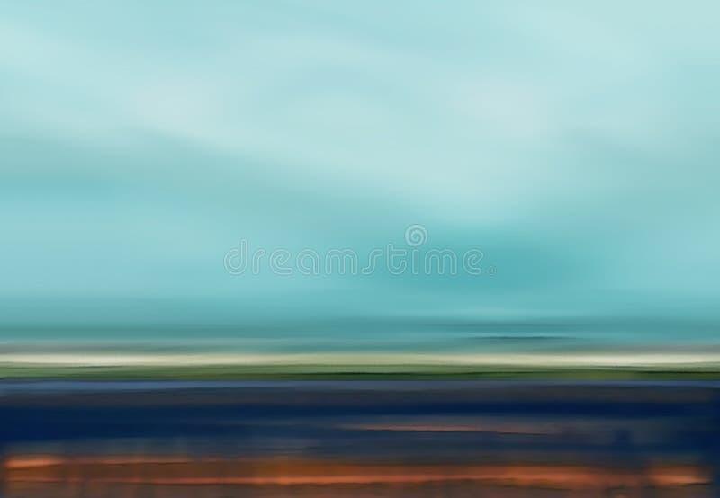 Abstracte Digitale Landschapsillustratie met Hemel, Strand en Oceaan in Blauwe Bruine Kleuren royalty-vrije illustratie