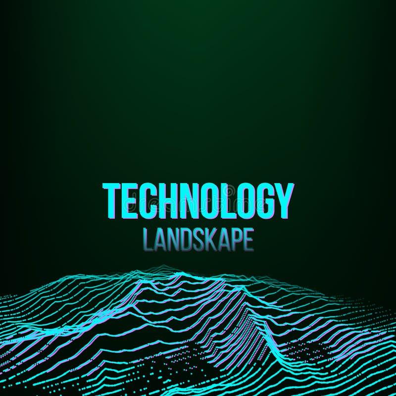 Abstracte Digitale Landschapsvector Als achtergrond Signaallawaai Grote Gegevens Technologieillustratie vector illustratie