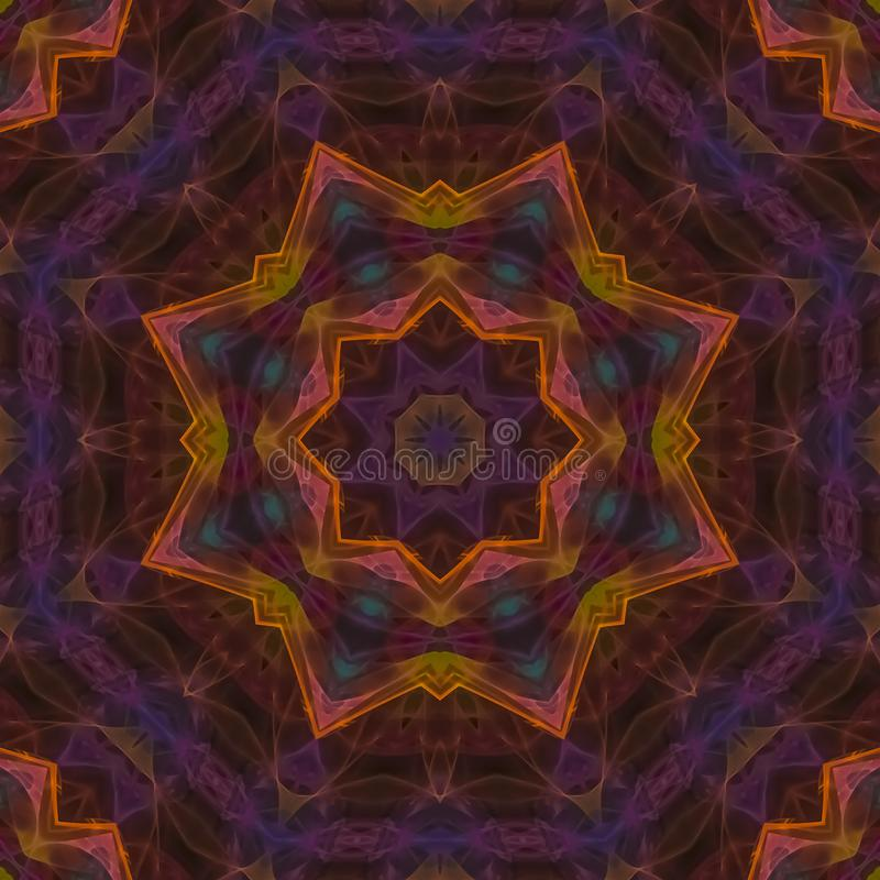 Abstracte digitale mandala van het het ontwerpmozaïek van de caleidoscoop decoratieve symmetrische fantasie mooie stock illustratie