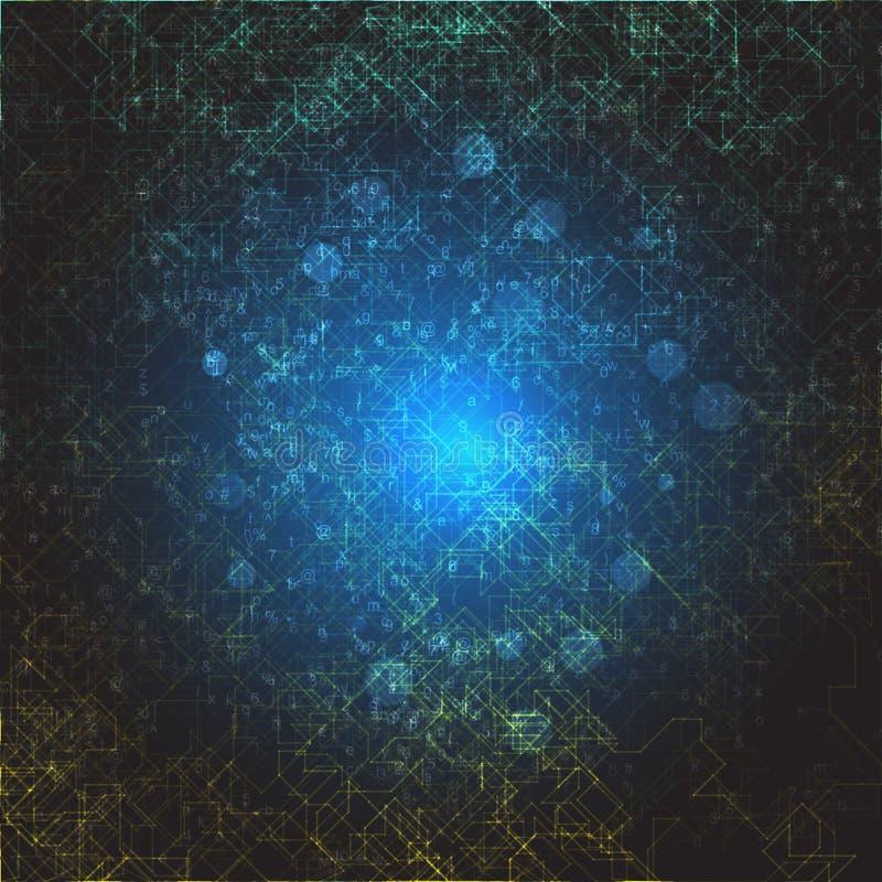Abstracte digitale ruimteillustratie Cyber ruimteportaal met chaotische lijnen en cijfers vector illustratie