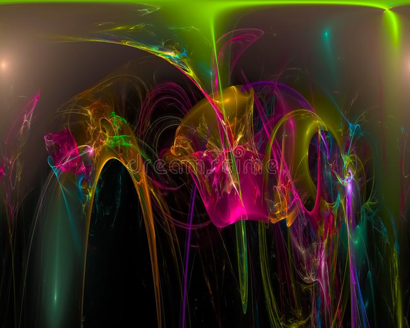 Abstracte digitale surreal fractal, effect het ontwerp creatief malplaatje van de chaostextuur stock illustratie