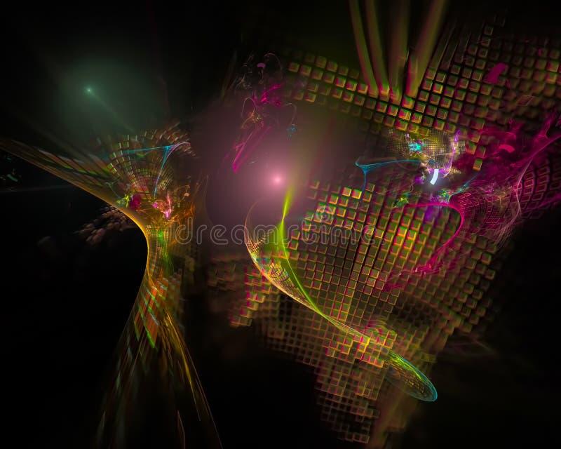 Abstracte digitale surreal fractal, het creatieve malplaatje van het behangontwerp royalty-vrije illustratie
