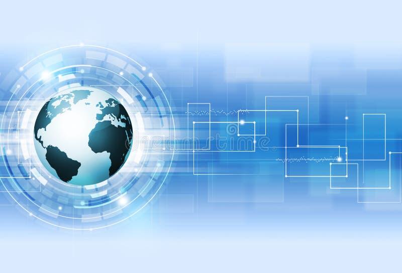 Abstracte Digitale Technologie Blauwe Achtergrond stock illustratie