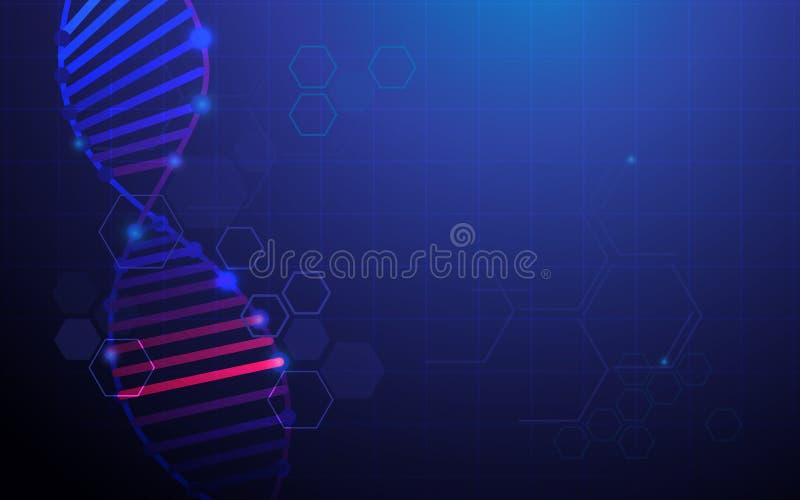 Abstracte DNA-structuur met de achtergrond van het Medische en wetenschapsconcept vector illustratie