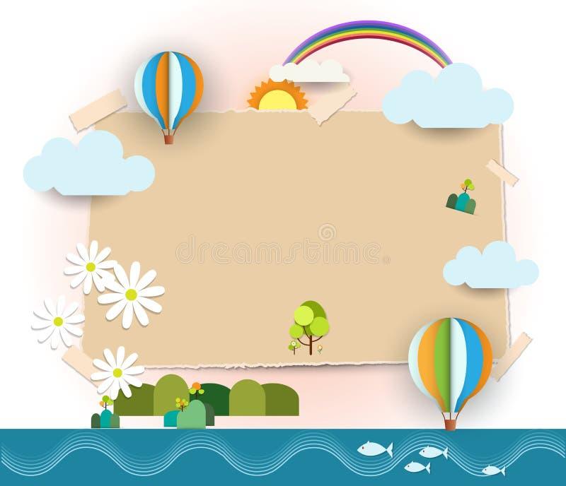 Abstracte document besnoeiing Het lege document neemt nota van achtergrond ruimte voor de nota's van de tekstpost-it Het concept  vector illustratie