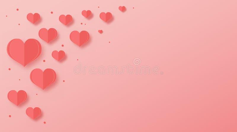 Abstracte document besnoeiingsharten over roze achtergrond stock illustratie