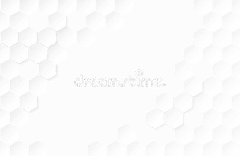 Abstracte document Hexagon witte Achtergrond, licht en schaduw, Vecto royalty-vrije stock afbeelding