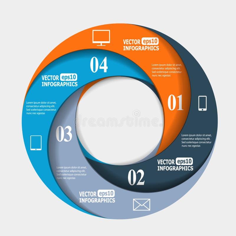 Abstracte document infografics in een cirkelvorm stock illustratie