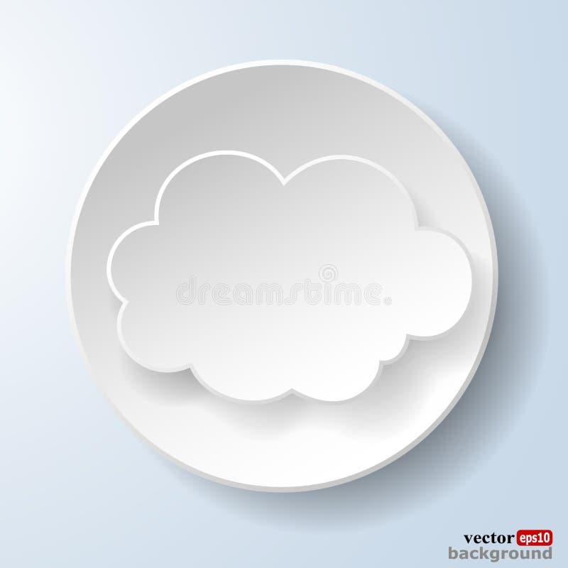 Abstracte document toespraakbel in de vorm van een wolk op lichte blu stock illustratie
