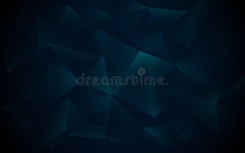 Abstracte donkerblauwe veelhoekige, geometrische, driehoeks en kristalachtergrond vector illustratie