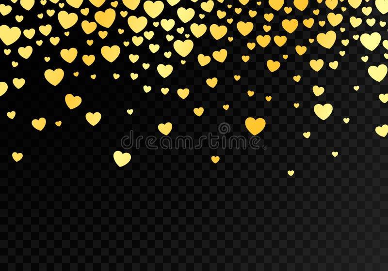 Abstracte donkere achtergrond met heldere dalende gouden harten Malplaatjeachtergrond voor ontwerpkaart en banner Gelukkige valen stock illustratie
