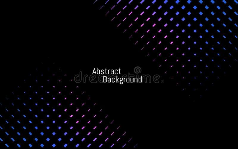 Abstracte donkere modieuze achtergrond Blauwe en purpere achtergrond Kleuren gestippelde lijnen op zwarte achtergrond Vector illu vector illustratie